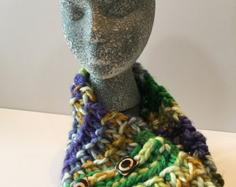 Chunky Knit Cowl with Buttons