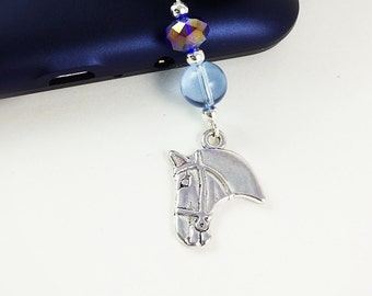 Horse, equine, equestrian, rider, pony, silver phone charm, blue beads, cell phone charm, phone accessory, tablet accessory, dust plug