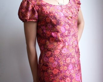 Silk Mod dress, vintage 1960s dress, pink and red, dreamy 60s dress