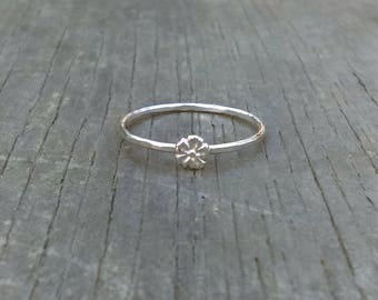 Tiny Silver Blossom Ring, Stackable Flower Ring, Sterling Silver Stacker, Cherry Blossom Ring, Stackable Ring, Floral Ring, Dainty