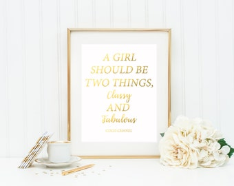 Coco Chanel Quotes / Vanity Decor / A Girl Should Be Two Things / Coco Chanel Decor / Fashion Print / Vanity Art / Coco Chanel Wall Art /