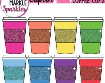 Glitter Clipart, Rainbow Clipart, Coffee Clipart, Coffee Cup Clipart, Cup Clipart, Starbucks Clipart, Coffee Mug Clipart, Commercial Use
