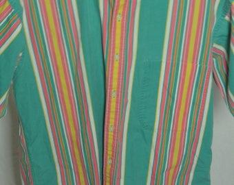Mens Pastel Multi Color Striped Gant Salty Dog button Front Short Sleeve Shirt - Size Medium