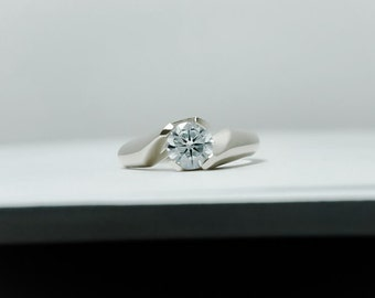 Sterling silver engagement ring - Engagement ring - Promise ring - Twisted engagement ring - Twist engagement ring