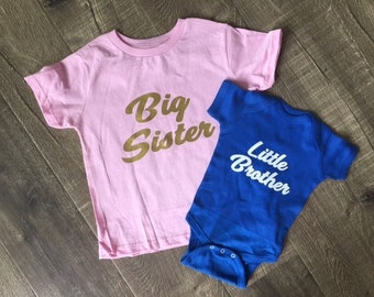 Big Sister, Little Brother, Big Brother, Little Sister Shirts - Siblings TShirts Youth Toddler Kids, Boys Girls Baby Sibling Onesies - Gifts