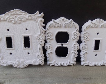 ON SALE!!!  Cast iron switch plate cover, floral design, light lilac color/custom switch plate/rustic switch plate/electric outlet cover