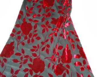 Holiday GREAT GATSPY Inspired Vintage Deep Rich Garnet Velvet with Bead Trim and Sheer Lined Velvet Below - Size 4