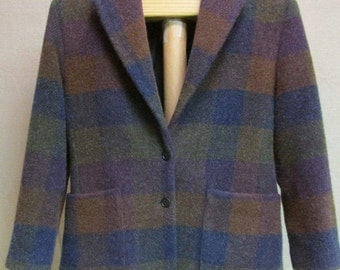 Vintage WOOLRICH Purple Blue Green & Brown Check Thick Wool Mohair Blend Blazer Coat Size M USA