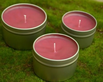 Black Cherry Basil Scented Candle, Container Candle, Candle, Basil Scent, Black Cherry Candle, Scented Candle, Fruit Candle, Pink Candle