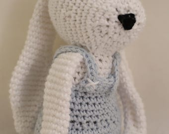 Crocheted Boy Bunny Rabbit in Overalls - Natural Fibers