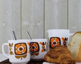 Coffee service - Coffee mug, Arcopal france, Milk glass mug, Arcopal mug, Tea mug, Made in France, Mobil, Arcopal jug, Orange, C060