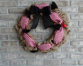 Ant Wreath, Picnic Wreath, Summer Wreath, Burlap Wreath, Front Door Wreath, Gingham Wreath, Whimsical Wreath, Red Wreath, Home Decor Wreath