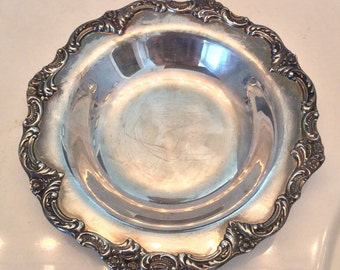 Silver Plated Bowl // Reed and Barton // Silver Bowl // Carved Silver Bowl