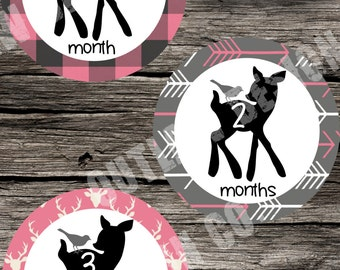 Baby Girl Monthly Milestone Markers Printable Instant Download Deer Antlers Arrows Hunting Plaid Pink Woodsy Woodland Outdoor Photo Props