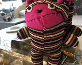 Handmade Stripey Sock Bear