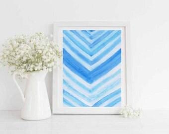 Watercolor Blue Chevron Printable
