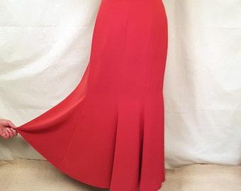 Vintage women gode style midi skirt. Female red skirt.