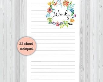 Tall & Skinny Notepad Custom Notepad - Tropical Flowers