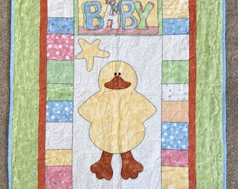 Baby Ducky Blanket with Blue Polka Dot Back