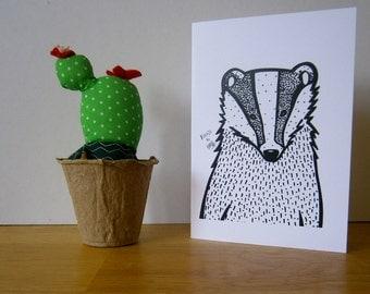 Badger. Greeting card. Blank card.