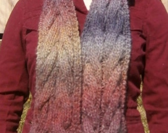 Cable-Knit Rainbow Ombre Scarf, Super Soft Alpaca Blend -- Rainbow scarf, cable scarf, alpaca scarf, knit scarf, knitted scarf