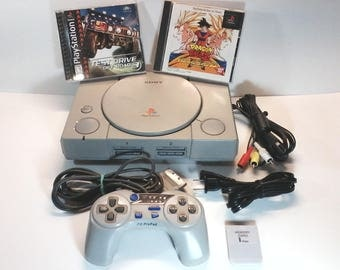 Playstation 1 Console System Region Free Chip Modded, Interact ProPad,AC,AV, Test Drive Offroad 3, Japanese Dragon Ball Z Ultimate Battle 22