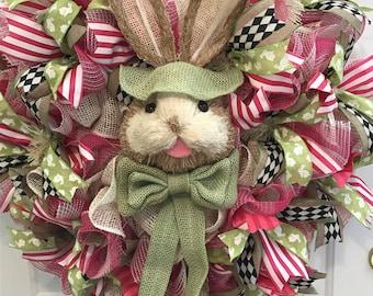 Easter Bunny Wreath, Bunny Wreath, Easter Decoration,  Spring  Door Decor, Outdoor Easter Wreath, Easter Decor,