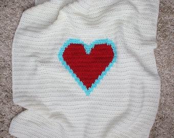 Crochet Heart Blanket, Crochet Baby Blanket