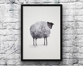 S painting, original watercolor, no print-Zen-art-hand made-art-watercolor sheep painting-art-art-ZenWatercolor schafe mouton