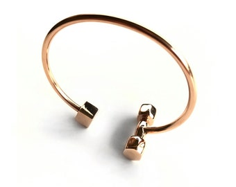 Women's Rose Gold Dumbbell Cuff - Gym Jewelry - Women's Jewelry - Gifts For Her by Modern Jock