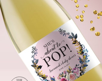About To Pop Baby Shower Mini Champagne Labels, Ready To Pop Stickers, Floral Baby Shower, Baby Shower Champagne Labels, Baby Sprinkle, 130