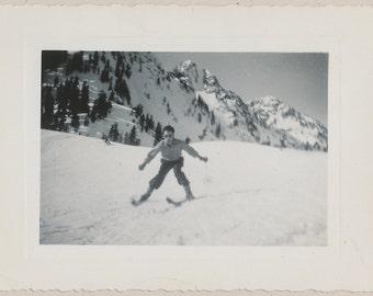 Madcap ski snapshot - vintage photo snapshot from the mountains