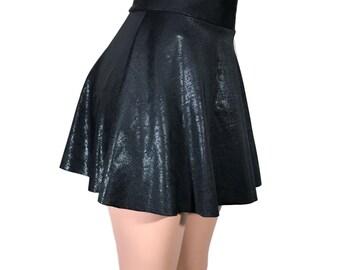 Black Textured High Waisted Skater Skirt - Mini Circle Skirt - club or rave wear