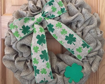 St. Patrick's Day Burlap Wreath