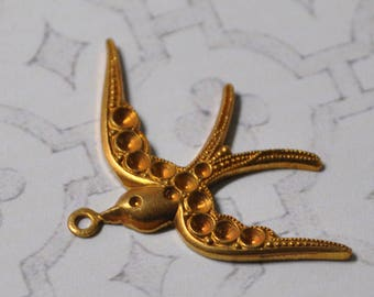 Vintage French Sparrow Victorian Style Brass Die Casting Stone Setting Jewelry Finding 1 Piece 448J