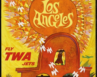 TWA Los Angeles, Vintage Reproduction Travel Poster