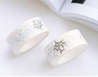 Tree washi tape, gold dots, metallic washi tape, Japanese tree, bullet journal supplies, planner accessories, tree sticker, zakka, kawaii