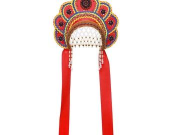 "Russian Traditional Folk Costume - Headdress Kokoshnik ""Elena"" red #391"