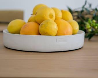 Decorative concrete bowl by artist Tani mor   fruit bowl   centerpiece of concrete