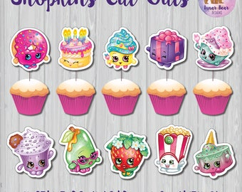 Shopkins Cupcake Toppers, Shopkins Party Decoration, Shopkins Characters, Shopkins Cut Outs, Shopkins Decoration, Shopkins Birthday Party