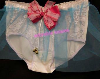 Sissy abdl mini petticoat undies see thru sissy  panties undies