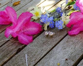 Earrings in silver - half - sphere KkumArt