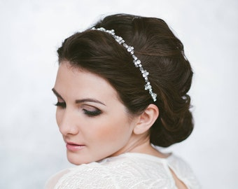 Simple hair vine Minimalist hair piece Pippa Middleton tiara Bohemian headpiece Bridal tiny headband Wedding rhinestones tiara Crystal halo