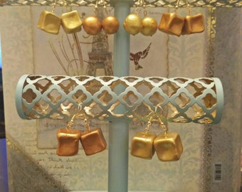 Gold/copper Clay Cube Earrings