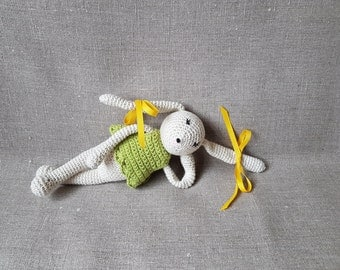 Amigurumi Ivory Bunny Rabbit - with Apple Green Top - Hand crochet Stuffed Cuddly Toy with 100% Hi-loft polyester filling
