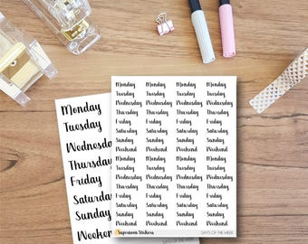 Days of the Week Word Stickers || Planner Stickers