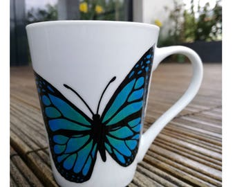 Blue or Yellow Butterfly Hand Painted Coffee Mug
