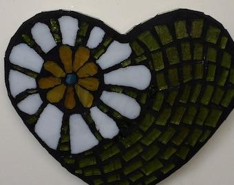 Mosaic 'Lime Swirl' Heart Wall Art