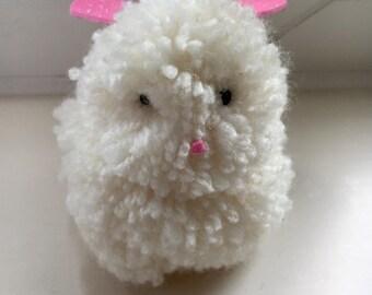 Easter Bunny Rabbit Handmade from Pom Pom Wool with Glitter Ears