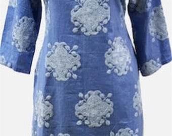 Cotton embroidered blue and white Indian ethnic kurta/kurti/tunic/top with long sleeves and an open neckline